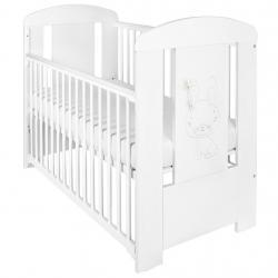 Dětská postýlka New Baby Králíček se stahovací bočnicí bílá Bílá