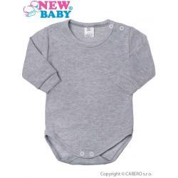 Kojenecké body s dlouhým rukávem New Baby šedé Šedá velikost - 80 (9-12m)