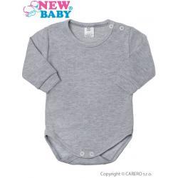 Kojenecké body s dlouhým rukávem New Baby šedé Šedá velikost - 86 (12-18m)
