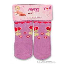 Froté ponožky fialové různé obrázky Fialová velikost - 68 (4-6m)
