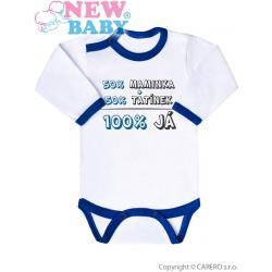 Body s potiskem New Baby 50% MAMINKA + 50% TATÍNEK - 100% JÁ modré Modrá velikost - 56 (0-3m)
