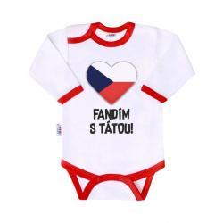 Body s potiskem New Baby Fandím s tátou Červená velikost - 86 (12-18m)
