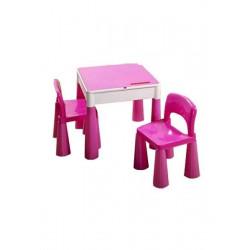 Dětská sada stoleček a dvě židličky růžová Růžová