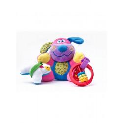Edukační plyšová hračka Sensillo pejsek s vibrací a chrastítkem Fialová