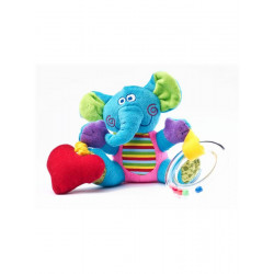 Edukační plyšová hračka Sensillo sloník s vibrací a chrastítkem Modrá
