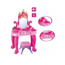 Dětský toaletní stolek s pianem a židličkou Bayo + příslušenství 13 ks Růžová