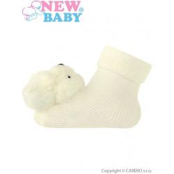 Kojenecké ponožky s chrastítkem New Baby béžové Béžová velikost - 74 (6-9m)