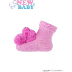 Kojenecké ponožky s chrastítkem New Baby růžové Růžová velikost - 74 (6-9m)