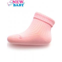 Kojenecké pruhované ponožky New Baby světle růžové Světle růžová velikost - 86 (12-18 m)