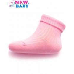 Kojenecké pruhované ponožky New Baby růžové Růžová velikost - 86 (12-18 m)