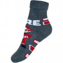 Kojenecké froté ponožky New Baby s ABS šedé s hasičem Šedá velikost - 80 (9-12m)