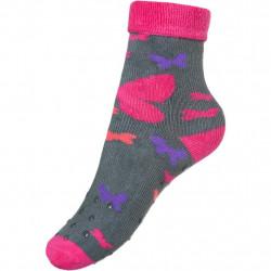 Dětské froté ponožky New Baby s ABS šedé s motýlem Šedá velikost - 80 (9-12m)