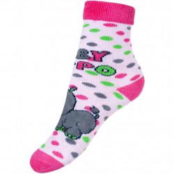 Dětské froté ponožky New Baby s ABS růžové hippo Růžová velikost - 80 (9-12m)