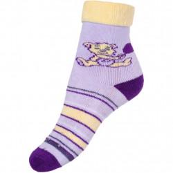 Dětské froté ponožky New Baby s ABS fialové s medvídkem Fialová velikost - 80 (9-12m)