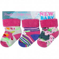 Kojenecké froté ponožky New Baby barevné - 3ks Dle obrázku velikost - 62 (3-6m)