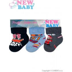 Kojenecké froté ponožky New Baby barevné - 3ks Dle obrázku velikost - 74 (6-9m)