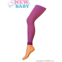 Tenké jednobarevné legínky s krajkou New Baby světle fialové Fialová velikost - 104 (3-4r)