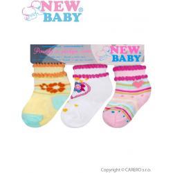 Kojenecké bavlněné ponožky New Baby barevné - 3ks Dle obrázku velikost - 74 (6-9m)