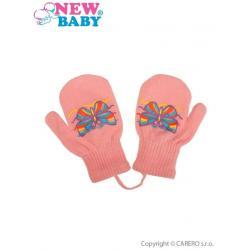 Dětské zimní rukavičky New Baby s motýlkem růžové Růžová velikost - 98 (2-3r)