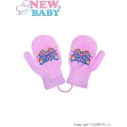 Dětské zimní rukavičky New Baby s motýlkem fialové Fialová velikost - 98 (2-3r)