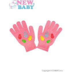 Dětské zimní rukavičky New Baby Girl růžové Růžová velikost - 122 (6-7 let)