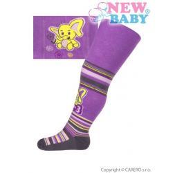 Bavlněné punčocháčky New Baby fialové se sloníkem Fialová velikost - 56 (0-3m)