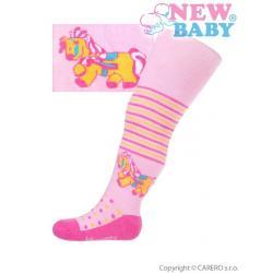 Bavlněné punčocháčky New Baby růžové s koníkem Růžová velikost - 68 (4-6m)