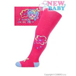 Bavlněné punčocháčky New Baby růžové lala Růžová velikost - 80 (9-12m)