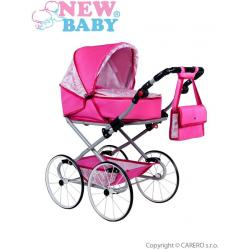 Dětský Retro kočárek pro panenky 2v1 New Baby Natálka růžový Růžová
