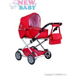 Dětský kočárek pro panenky 2v1 New Baby Monika červený Červená
