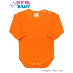 Kojenecké body s dlouhým rukávem New Baby oranžové Oranžová velikost - 74 (6-9m)