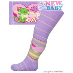 Bavlněné punčocháčky New Baby s ABS světle fialové my cat Fialová velikost - 68 (4-6m)