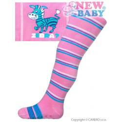 Bavlněné punčocháčky New Baby s ABS růžové zebra s pruhy Růžová velikost - 68 (4-6m)