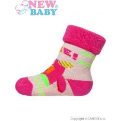 Kojenecké froté ponožky New Baby šedé s růžovým robotem Šedá velikost - 62 (3-6m)