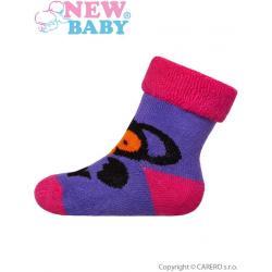 Kojenecké froté ponožky New Baby fialové s opicí Fialová velikost - 62 (3-6m)