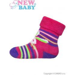 Kojenecké froté ponožky New Baby růžovo-fialové s zajíčkem Růžová velikost - 62 (3-6m)
