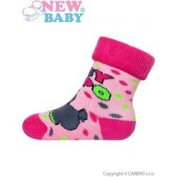 Dětské froté ponožky New Baby růžové s hrochem Růžová velikost - 74 (6-9m)