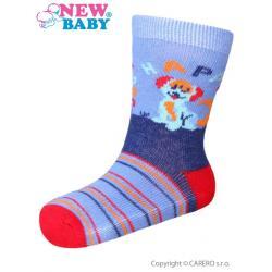 Kojenecké bavlněné ponožky New Baby modro-červené happy dog Modrá velikost - 86 (12-18 m)