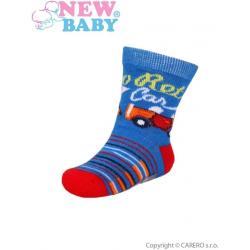 Kojenecké bavlněné ponožky New Baby modro-červené retro car Modrá velikost - 86 (12-18 m)
