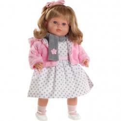 Luxusní mluvící dětská panenka-holčička Berbesa Carla 53cm Růžová