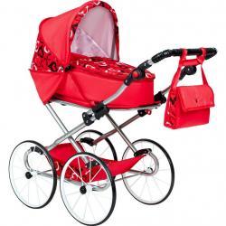Dětský Retro kočárek pro panenky 2v1 New Baby Elen červený se srdíčky Červená