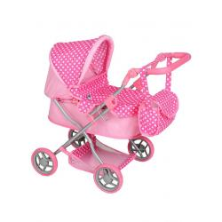 Hluboký kočárek pro panenky PlayTo Viola světle růžový Světle růžová