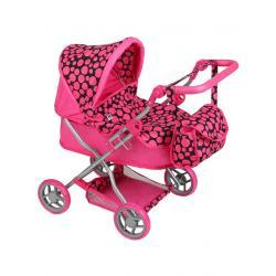 Hluboký kočárek pro panenky PlayTo Viola růžový Růžová