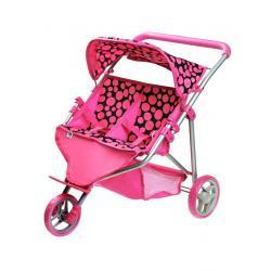 Sportovní kočárek pro 2 panenky PlayTo Klaudie růžový Růžová