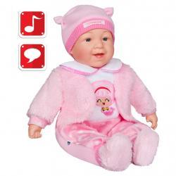 Česky mluvící a zpívající dětská panenka PlayTo Nelinka 46 cm Růžová