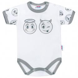 Kojenecké bavlněné body s krátkým rukávem New Baby Emotions Bílá velikost - 80 (9-12m)