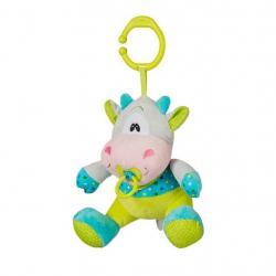 Plyšová hračka s hracím strojkem Baby Ono Kravička tyrkysovo zelená Tyrkysová