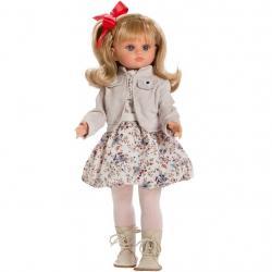 Luxusní dětská panenka-holčička Berbesa Laura 40cm Béžová
