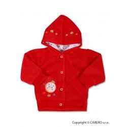 Semišková mikinka s kapucí Červená velikost - 80 (9-12m)