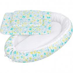 Luxusní hnízdečko s peřinkami pro miminko New Baby modří motýli Modrá